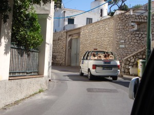 Riding in a cab in Capri