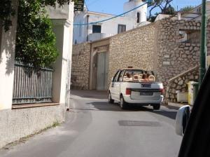 Riding in a cab in Capri